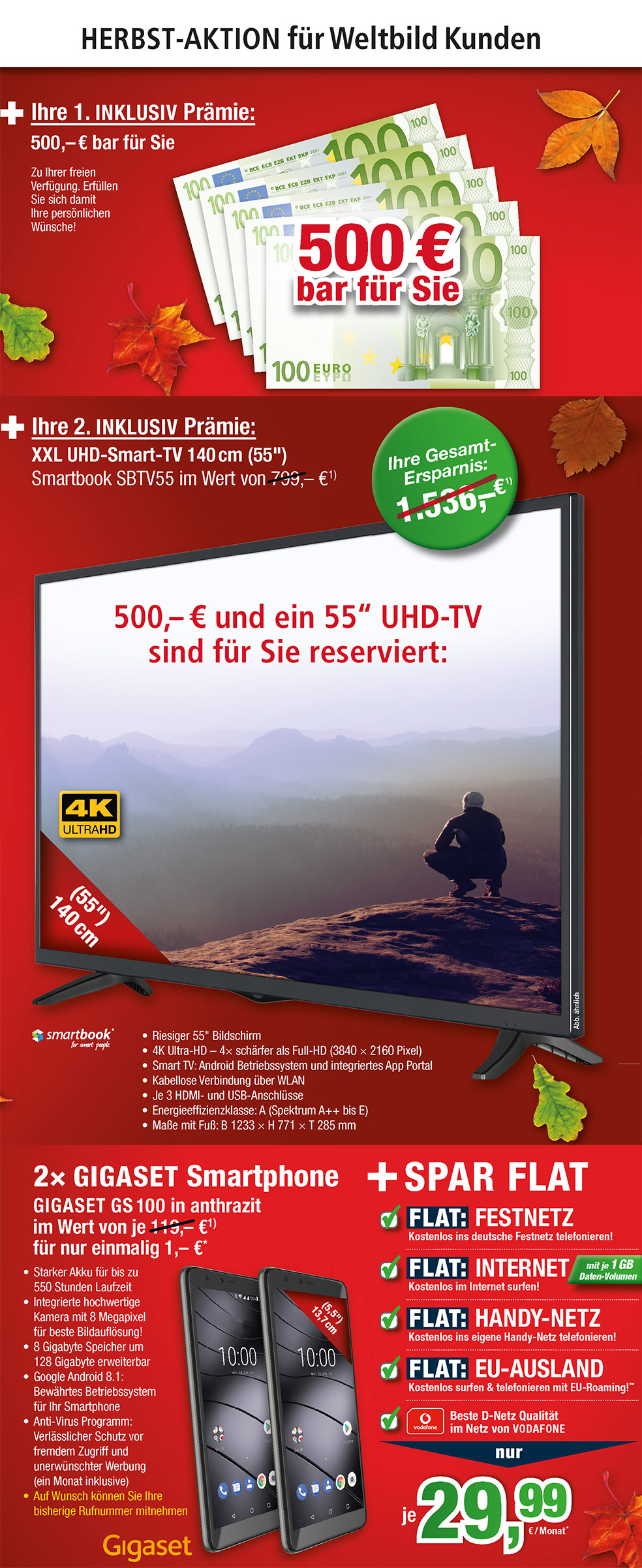 "500 € Bar + 55"" Smart-TV INKLUSIVE + 2 × GIGASET S100"